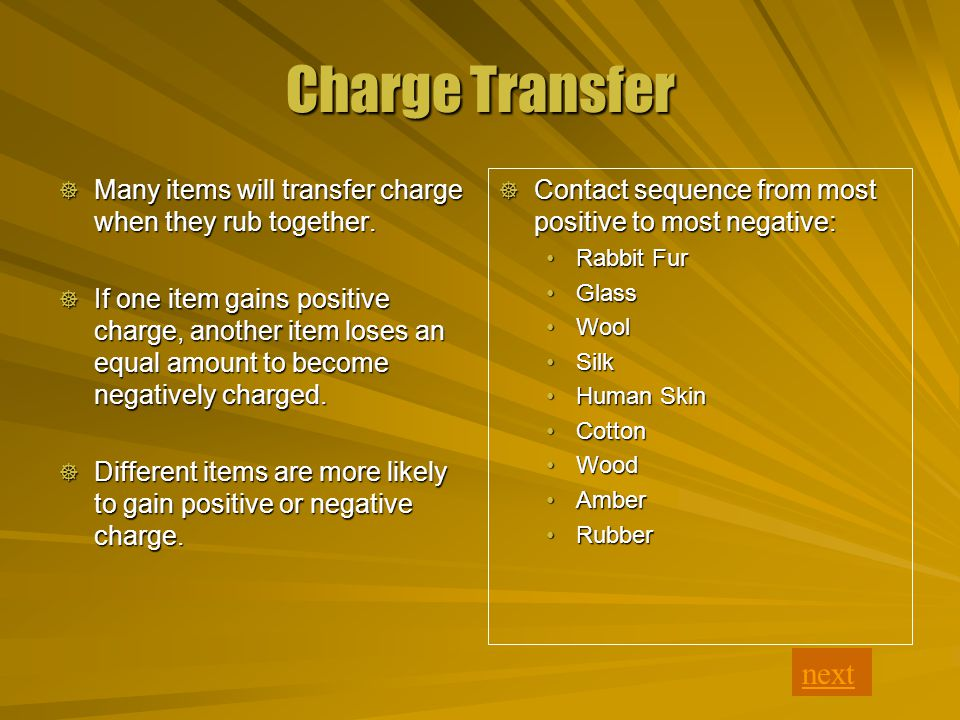 Charge Transfer  Contact sequence from most positive to most negative: Rabbit Fur Glass Wool Silk Human Skin Cotton Wood Amber Rubber next  Many items will transfer charge when they rub together.