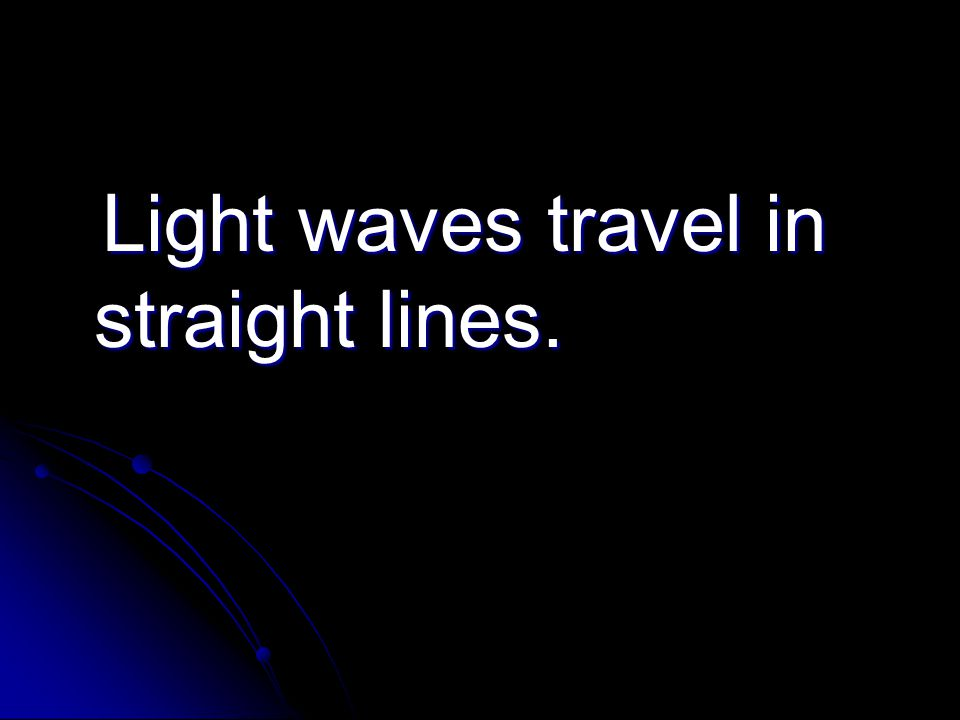 Light waves travel in straight lines. Light waves travel in straight lines.