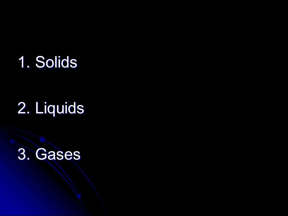 1. Solids 2. Liquids 3. Gases