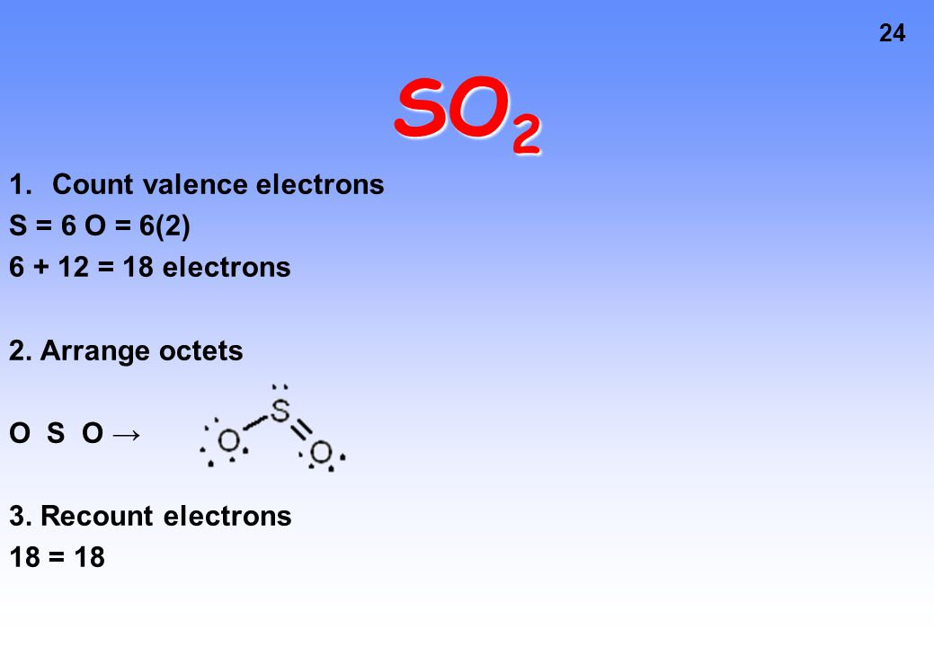 24 SO 2 1.Count valence electrons S = 6 O = 6(2) 6 + 12 = 18 electrons 2.