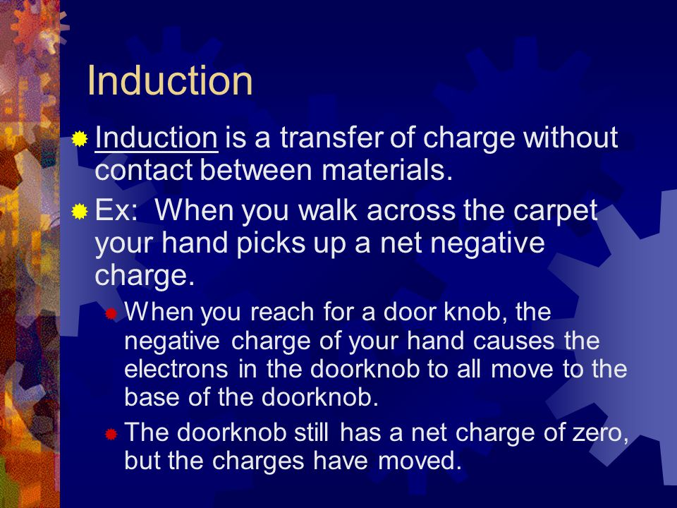 Induction  Induction is a transfer of charge without contact between materials.