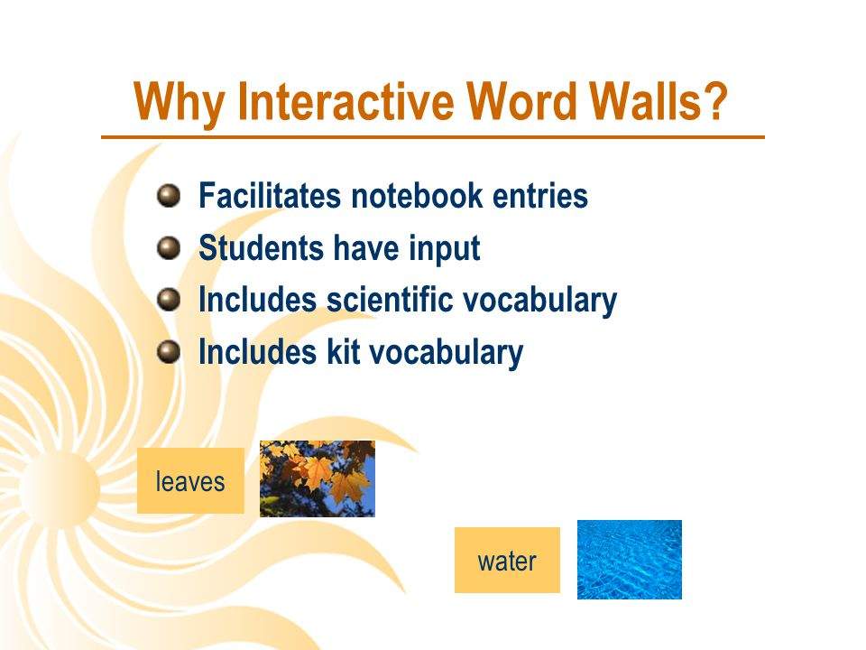 Why Interactive Word Walls? Facilitates notebook entries Students have input Includes scientific vocabulary Includes kit vocabulary leaves water