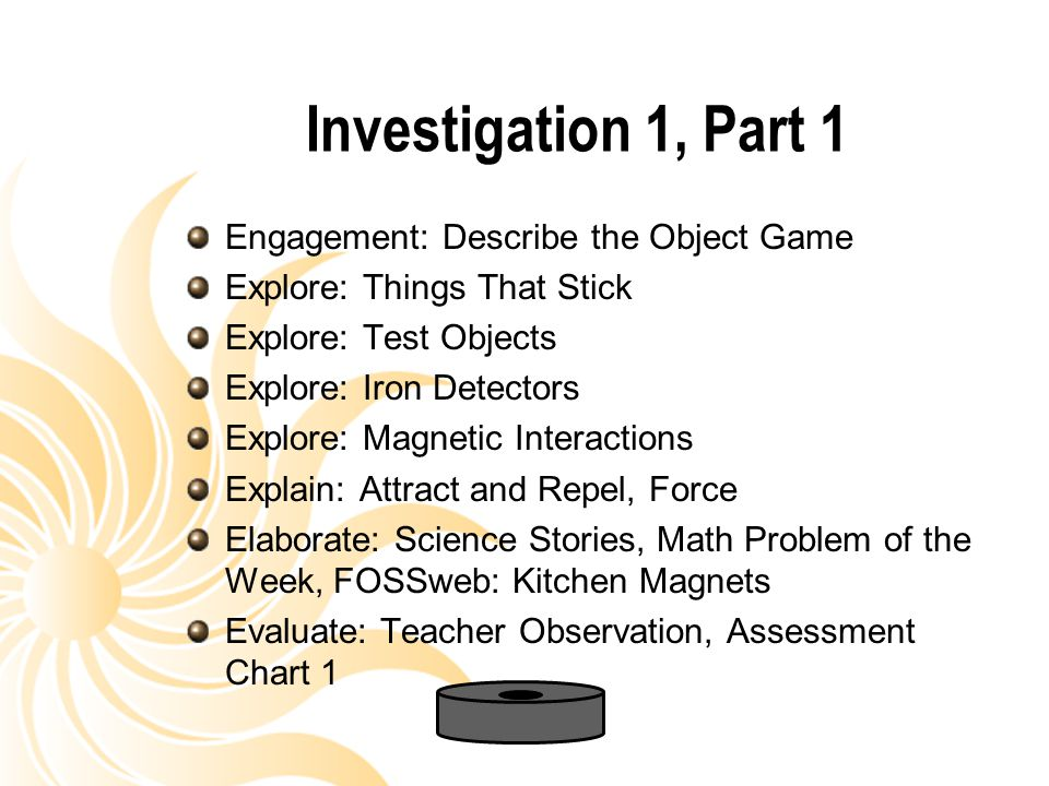Investigation 1, Part 1 Engagement: Describe the Object Game Explore: Things That Stick Explore: Test Objects Explore: Iron Detectors Explore: Magneti