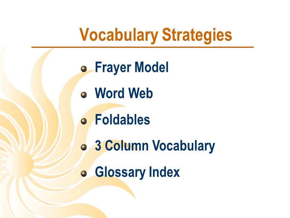 Vocabulary Strategies Frayer Model Word Web Foldables 3 Column Vocabulary Glossary Index
