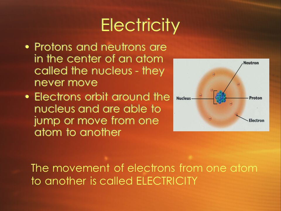 Electricity Protons and neutrons are in the center of an atom called the nucleus - they never move Electrons orbit around the nucleus and are able to jump or move from one atom to another Protons and neutrons are in the center of an atom called the nucleus - they never move Electrons orbit around the nucleus and are able to jump or move from one atom to another The movement of electrons from one atom to another is called ELECTRICITY