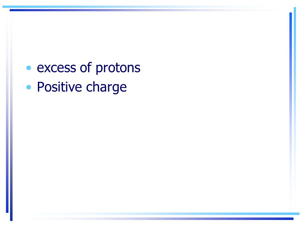 excess of protons Positive charge