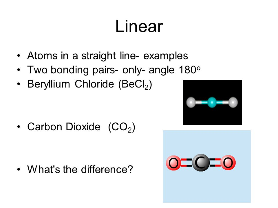 Linear Atoms in a straight line- examples Two bonding pairs- only- angle 180 o Beryllium Chloride (BeCl 2 ) Carbon Dioxide (CO 2 ) What's the differen