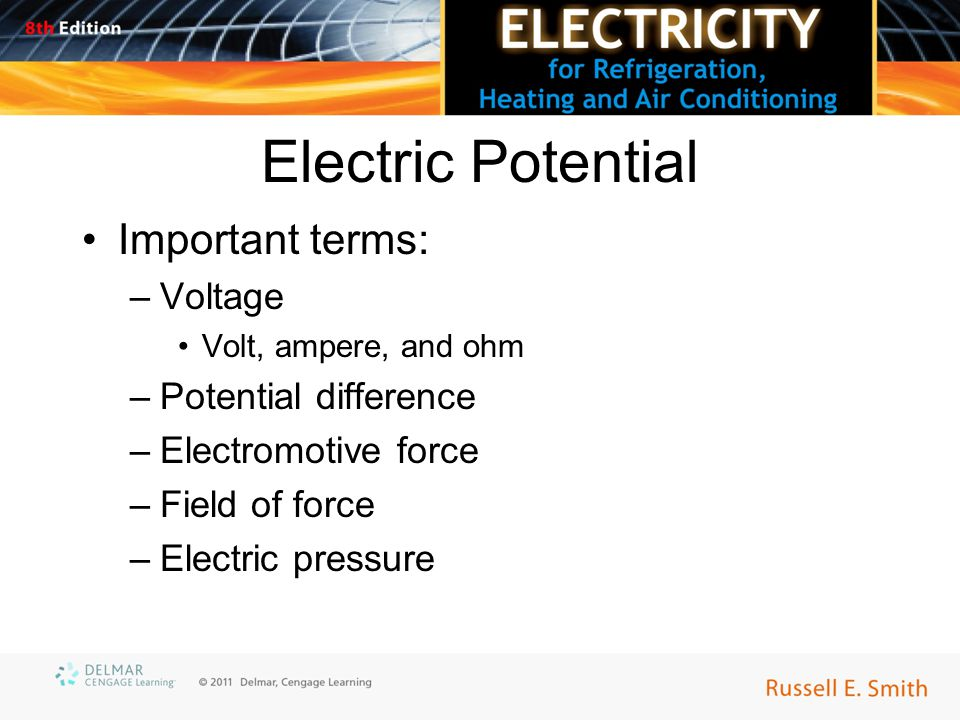 Electric Potential Important terms: –Voltage Volt, ampere, and ohm –Potential difference –Electromotive force –Field of force –Electric pressure