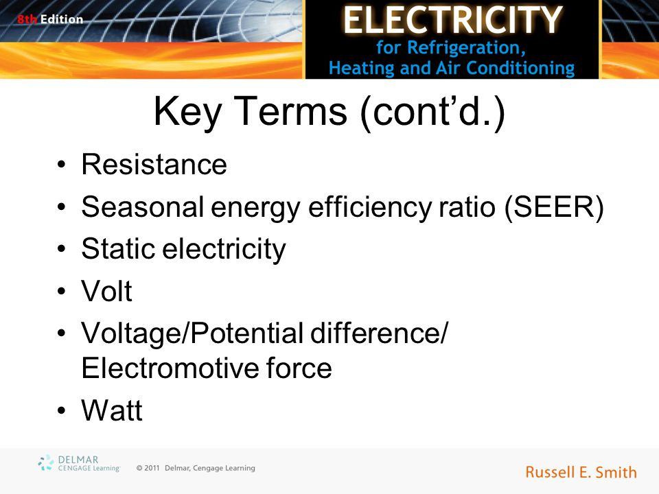 Key Terms (cont'd.) Resistance Seasonal energy efficiency ratio (SEER) Static electricity Volt Voltage/Potential difference/ Electromotive force Watt
