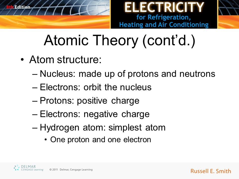 Atomic Theory (cont'd.) Atom structure: –Nucleus: made up of protons and neutrons –Electrons: orbit the nucleus –Protons: positive charge –Electrons: negative charge –Hydrogen atom: simplest atom One proton and one electron