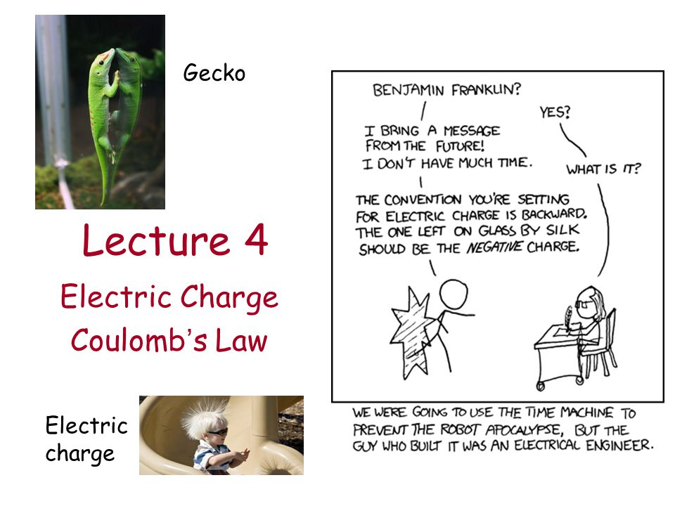 Lecture 4 Electric Charge Coulomb's Law Gecko Electric charge
