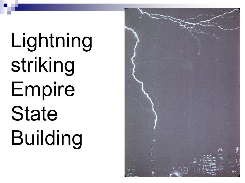 Lightning striking Empire State Building