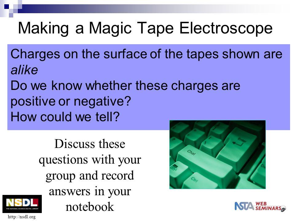 Making a Magic Tape Electroscope Charges on the surface of the tapes shown are alike Do we know whether these charges are positive or negative? How co