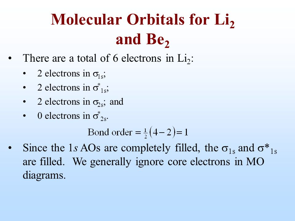 There are a total of 6 electrons in Li 2 : 2 electrons in  1s ; 2 electrons in  * 1s ; 2 electrons in  2s ; and 0 electrons in  * 2s. Since the 1s