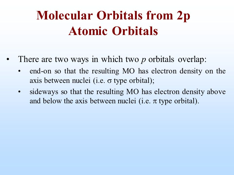 There are two ways in which two p orbitals overlap: end-on so that the resulting MO has electron density on the axis between nuclei (i.e.  type orbit