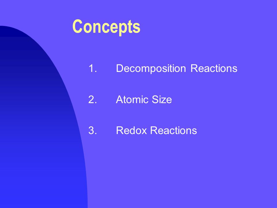 1.Decomposition Reactions  General Form is ABA+B The substance AB has broken apart into two new substances, A and B  In this demonstration AB is the substance nitrogen triiodide, NI 3