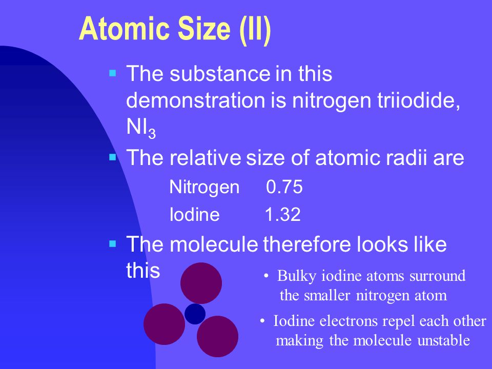 Atomic Size (II)  The substance in this demonstration is nitrogen triiodide, NI 3  The relative size of atomic radii are Nitrogen 0.75 Iodine 1.32  The molecule therefore looks like this Bulky iodine atoms surround the smaller nitrogen atom Iodine electrons repel each other making the molecule unstable