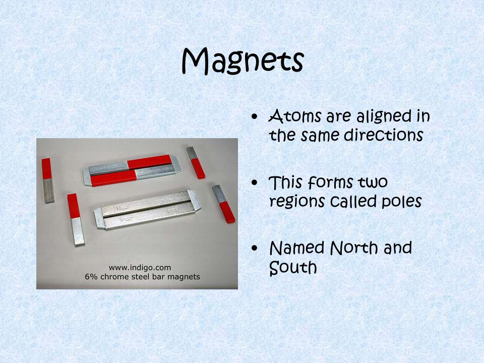 Poles All magnets have two poles, even if broke in half Bring the like poles together  repel each other Bring the opposite poles together  attract Each pole is also attracted to earth's poles