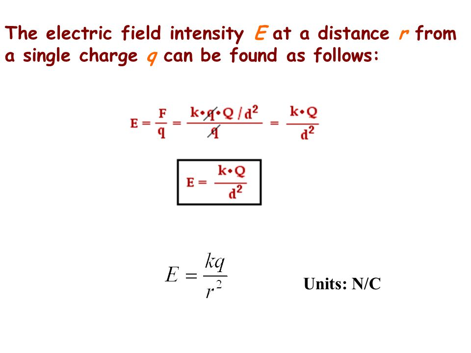 The electric field intensity E at a distance r from a single charge q can be found as follows: Units: N/C