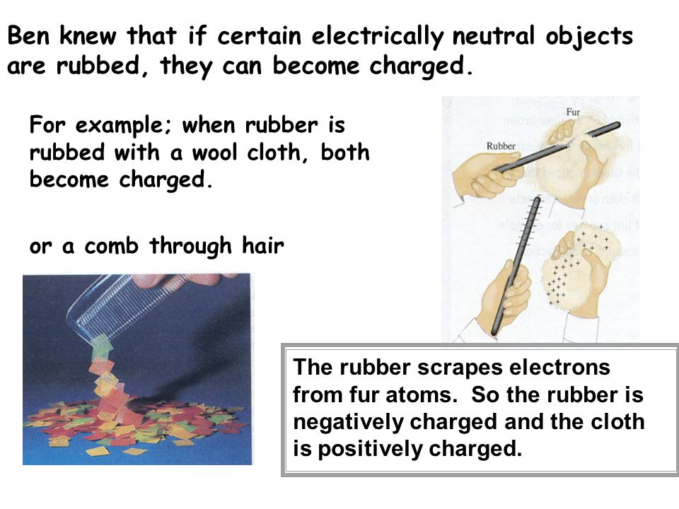 Ben knew that if certain electrically neutral objects are rubbed, they can become charged. For example; when rubber is rubbed with a wool cloth, both