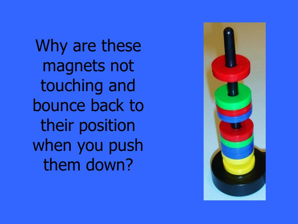 Why are these magnets not touching and bounce back to their position when you push them down