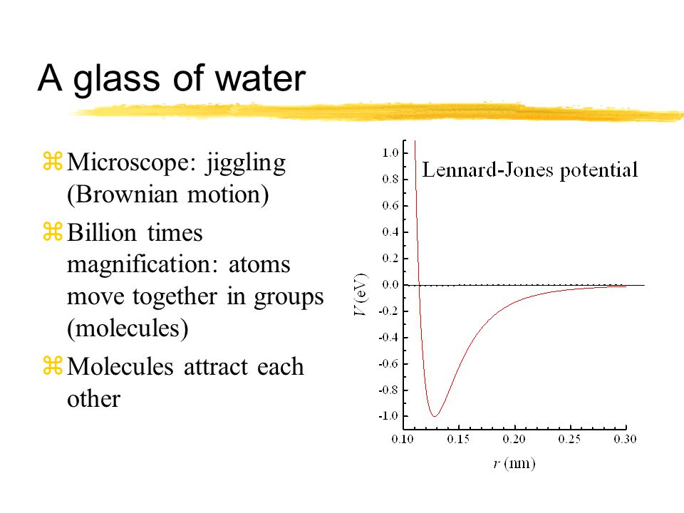 A glass of water zMicroscope: jiggling (Brownian motion) zBillion times magnification: atoms move together in groups (molecules) zMolecules attract each other