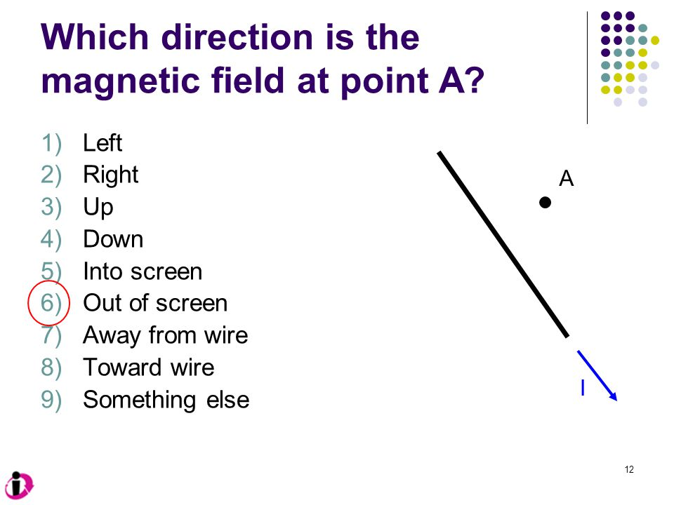 12 Which direction is the magnetic field at point A.