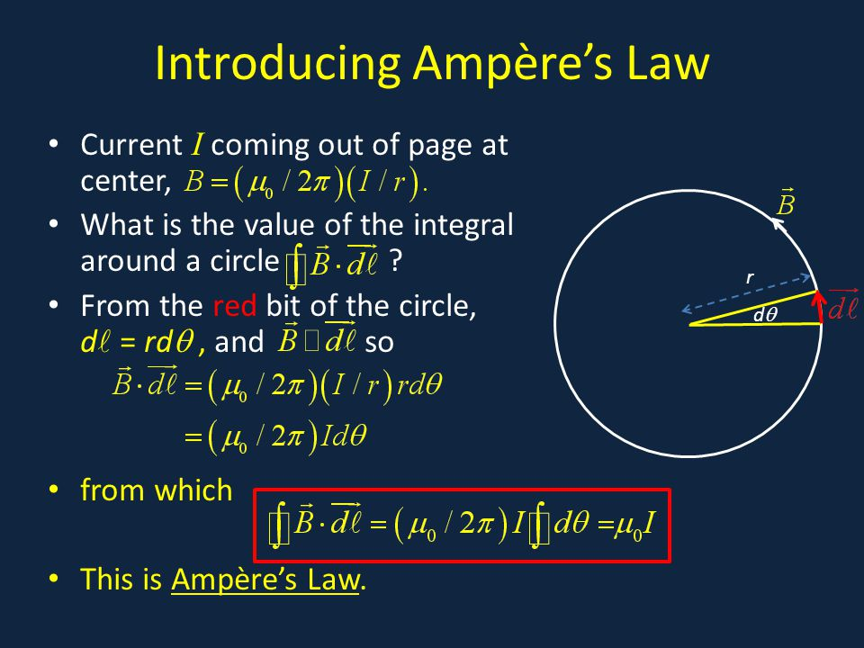 Introducing Ampère's Law Current I coming out of page at center, What is the value of the integral around a circle .