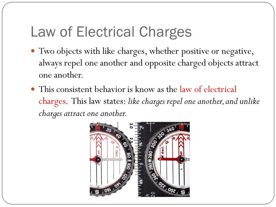 Law of Electrical Charges Two objects with like charges, whether positive or negative, always repel one another and opposite charged objects attract o