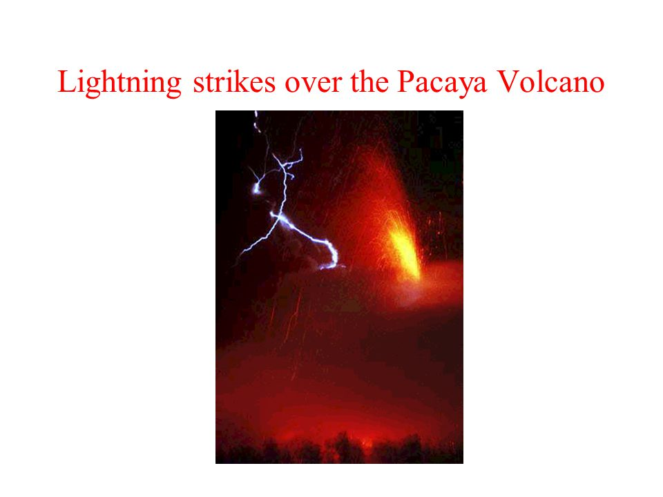 Lightning strikes over the Pacaya Volcano