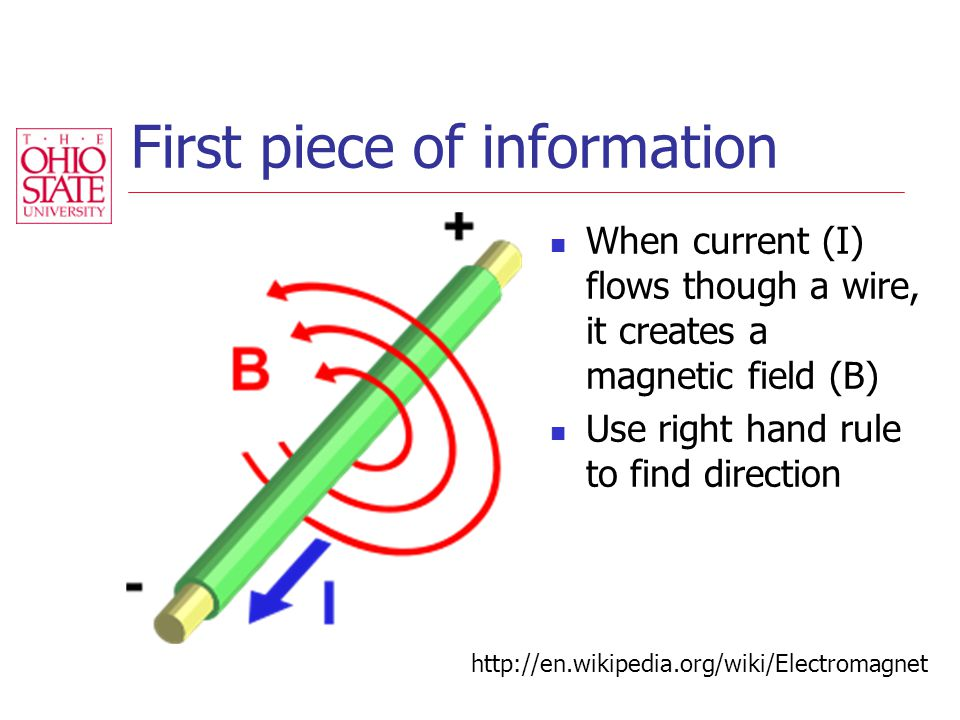 First piece of information When current (I) flows though a wire, it creates a magnetic field (B) Use right hand rule to find direction http://en.wikipedia.org/wiki/Electromagnet
