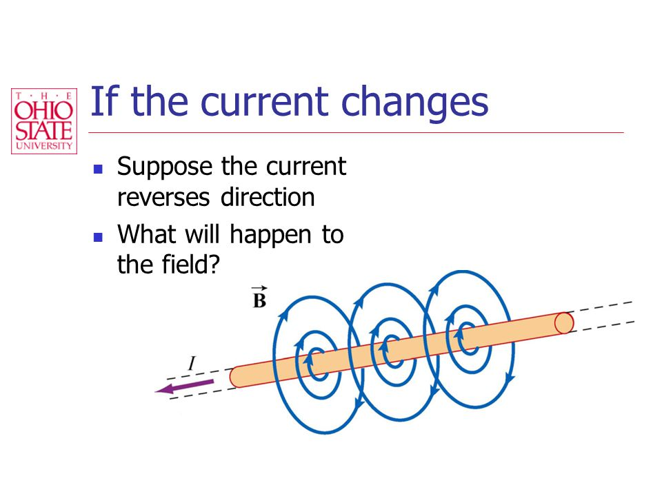 If the current changes Suppose the current reverses direction What will happen to the field