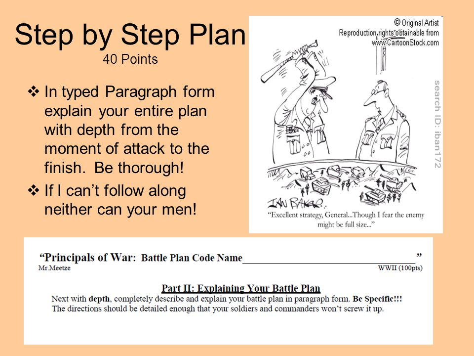 Step by Step Plan 40 Points  In typed Paragraph form explain your entire plan with depth from the moment of attack to the finish. Be thorough!  If I