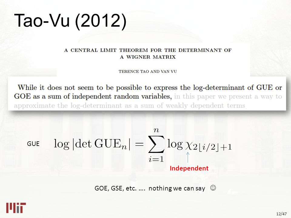 12/47 Tao-Vu (2012) GUE Independent GOE, GSE, etc. …. nothing we can say