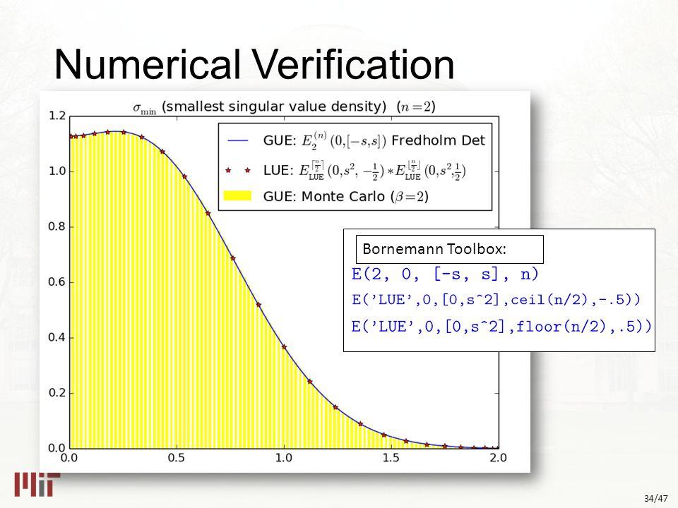 34/47 Numerical Verification Bornemann Toolbox: