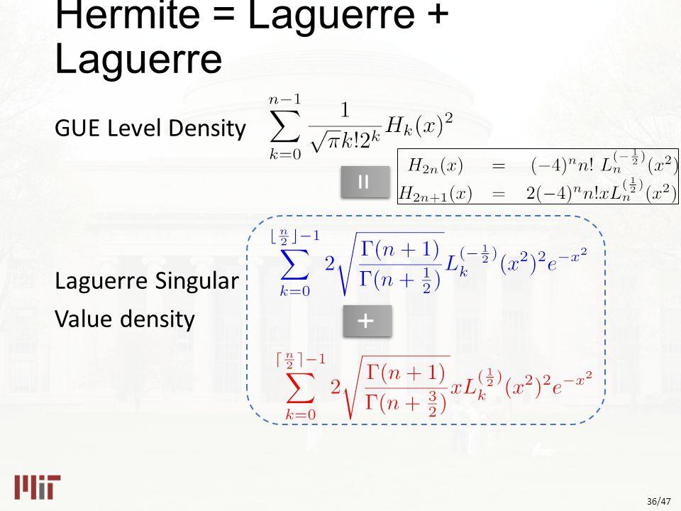 36/47 GUE Level Density Laguerre Singular Value density == ++ Hermite = Laguerre + Laguerre