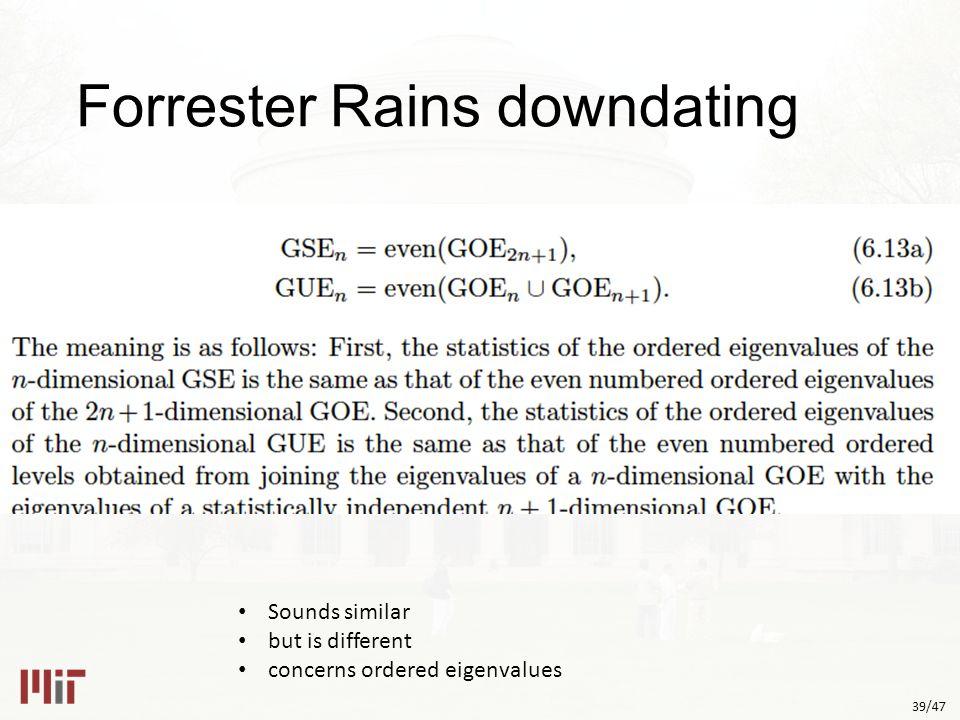 39/47 Forrester Rains downdating Sounds similar but is different concerns ordered eigenvalues