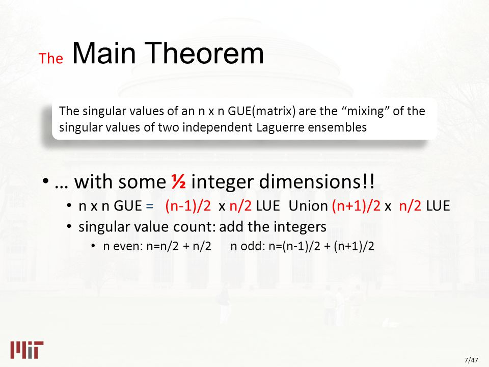 7/47 The Main Theorem … with some ½ integer dimensions!.