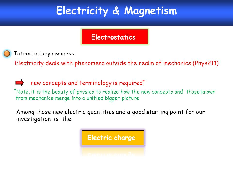 Electricity & Magnetism Introductory remarks Electricity deals with phenomena outside the realm of mechanics (Phys211) new concepts and terminology is required * * Note, it is the beauty of physics to realize how the new concepts and those known from mechanics merge into a unified bigger picture Among those new electric quantities and a good starting point for our investigation is the