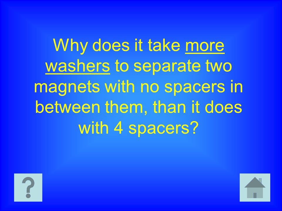 Why does it take more washers to separate two magnets with no spacers in between them, than it does with 4 spacers