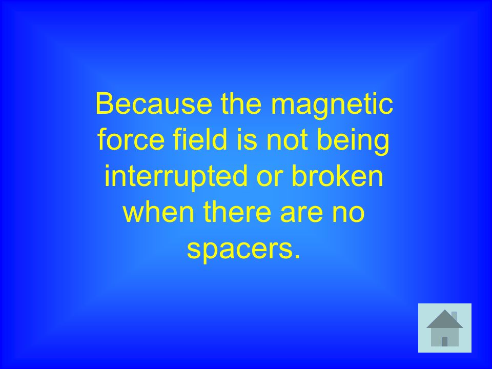 Because the magnetic force field is not being interrupted or broken when there are no spacers.