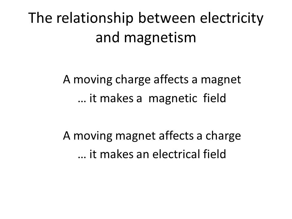 The relationship between electricity and magnetism A moving charge affects a magnet … it makes a magnetic field A moving magnet affects a charge … it makes an electrical field