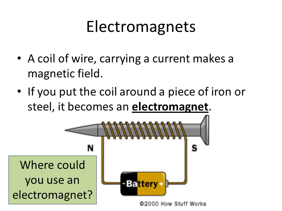 Electromagnets A coil of wire, carrying a current makes a magnetic field.