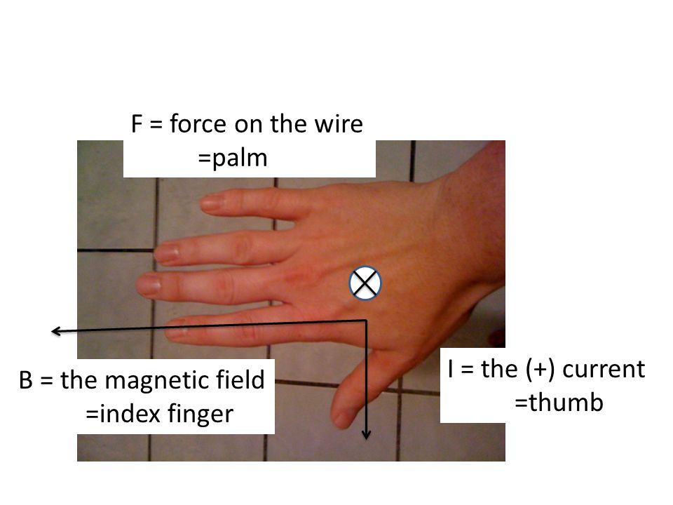 B = the magnetic field =index finger I = the (+) current =thumb F = force on the wire =palm