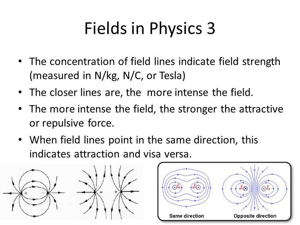Fields in Physics 3 The concentration of field lines indicate field strength (measured in N/kg, N/C, or Tesla) The closer lines are, the more intense the field.