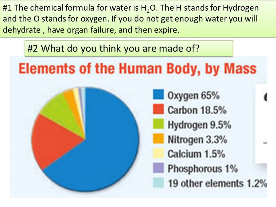 #2 What do you think you are made of. #1 The chemical formula for water is H 2 O.