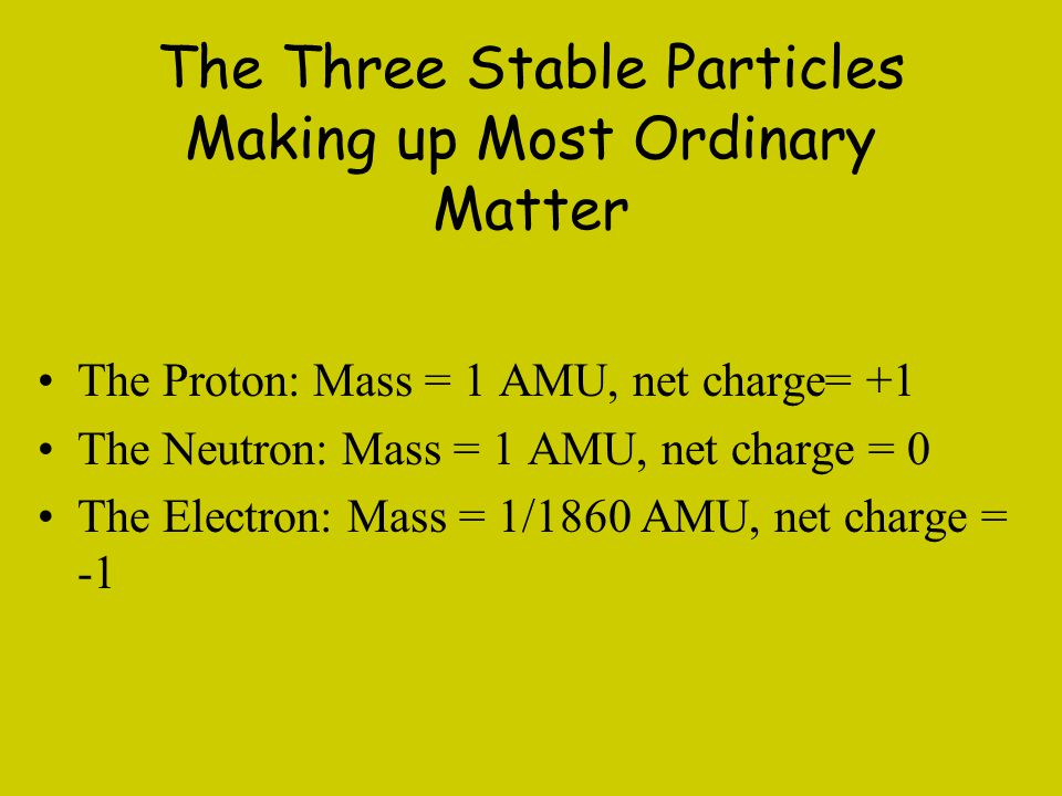 The Three Stable Particles Making up Most Ordinary Matter The Proton: Mass = 1 AMU, net charge= +1 The Neutron: Mass = 1 AMU, net charge = 0 The Elect