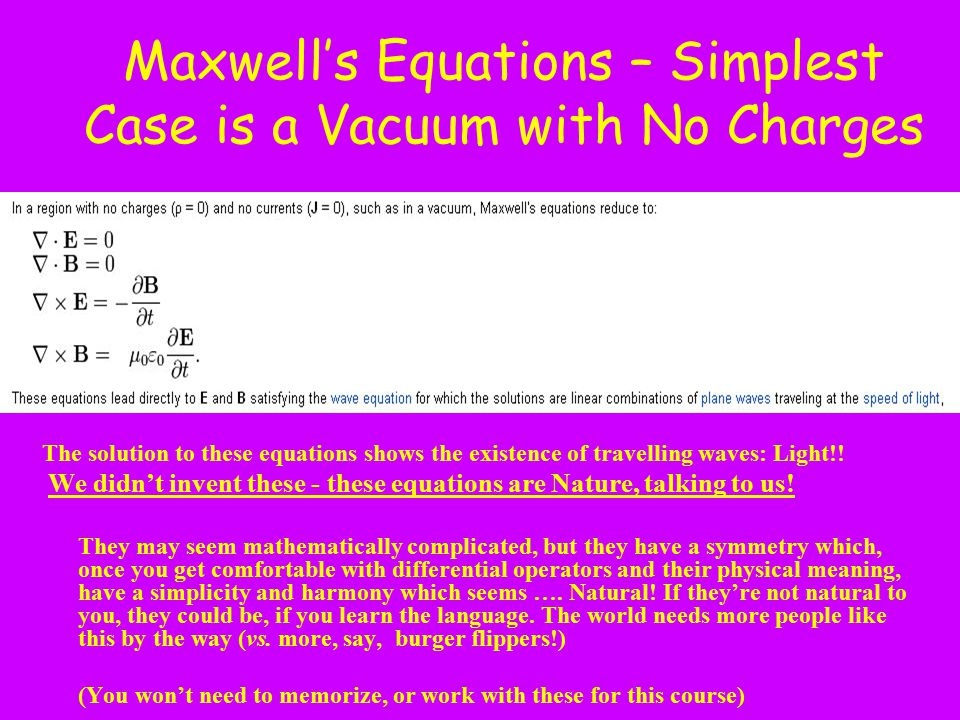 Maxwell's Equations – Simplest Case is a Vacuum with No Charges The solution to these equations shows the existence of travelling waves: Light!! We di