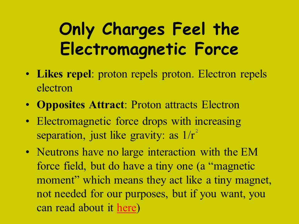 Only Charges Feel the Electromagnetic Force Likes repel: proton repels proton. Electron repels electron Opposites Attract: Proton attracts Electron El