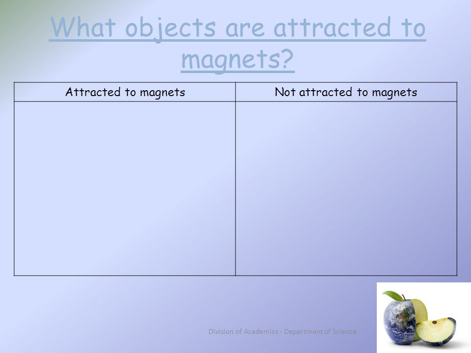 What objects are attracted to magnets.